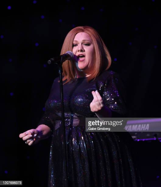 LAS Adele impersonator Andrea Tyler of Florida performs during The Reel Awards 2020 at Marilyn's Lounge inside the Eastside Cannery Casino Hotel on...