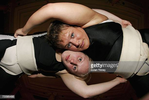 Adele Jones and Becky 'Pink' Williams wrestle during the announcement of Britain's 1st women sumo team at The Waldorf Hilton Hotel on October 5 2006...