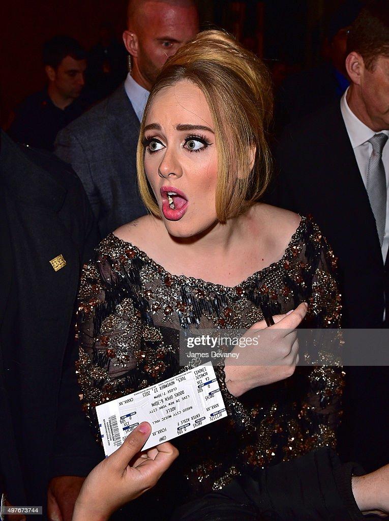 Adele leaves Radio City Music Hall on November 17, 2015 in New York City.