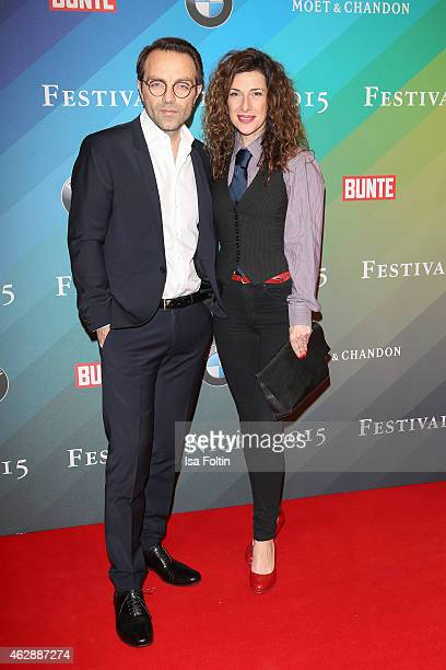 Adele Neuhauser and guest attend the Bunte BMW Festival Night 2015 on February 06 2015 in Berlin Germany