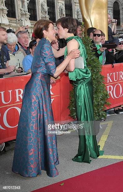 Adele Neuhauser and Julia Koschitz attend the 25th Romy Award 2014 at Hofburg Vienna on April 26 2014 in Vienna Austria