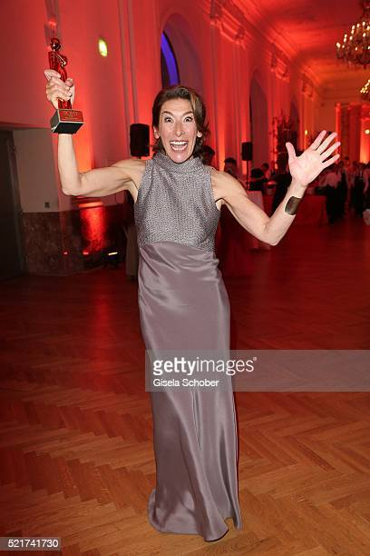 Adele Neuhauser poses with her award during the 27th ROMY Award 2015 at Hofburg Vienna on April 16 2016 in Vienna Austria