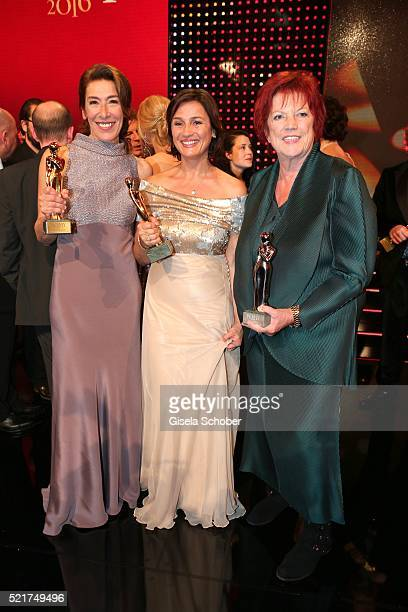 Adele Neuhauser Sandra Maischberger and Regina Ziegler pose with her award during the 27th ROMY Award 2015 at Hofburg Vienna on April 16 2016 in...