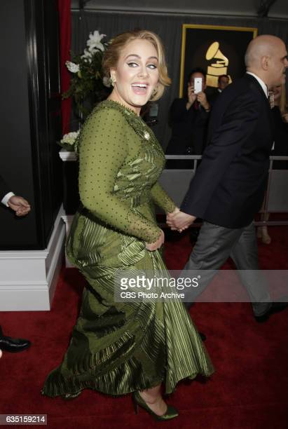 Adele on the Red Carpet at THE 59TH ANNUAL GRAMMY AWARDS broadcast live from the STAPLES Center in Los Angeles Sunday Feb 12 on the CBS Television...