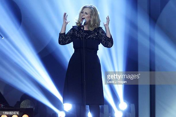 Adele onstage at The Brit Awards 2012 at The O2 Arena on February 21, 2012 in London, England.