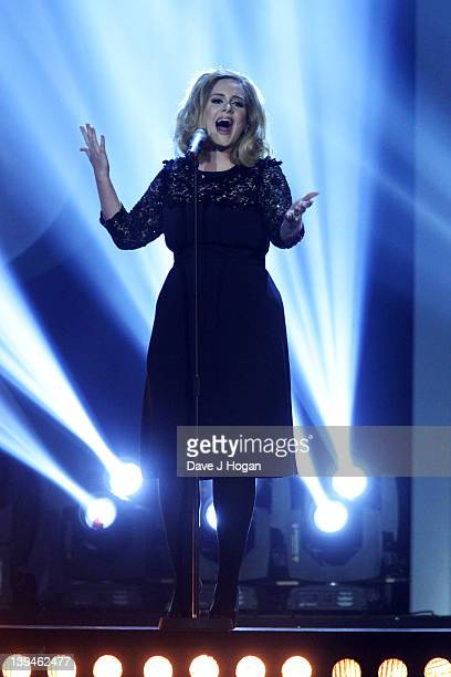 Adele onstage at The Brit Awards 2012 at The O2 Arena on February 21 2012 in London England