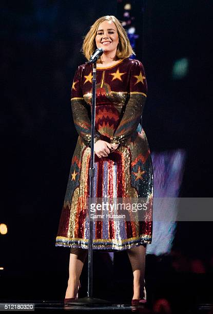 Adele perfoms live on stage at the Brit Awards 2016 at The O2 Arena on February 24 2016 in London England