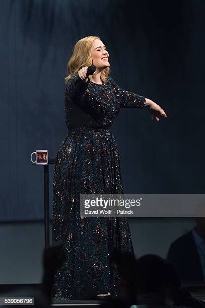 Adele performs at AccorHotels Arena on June 9 2016 in Paris France
