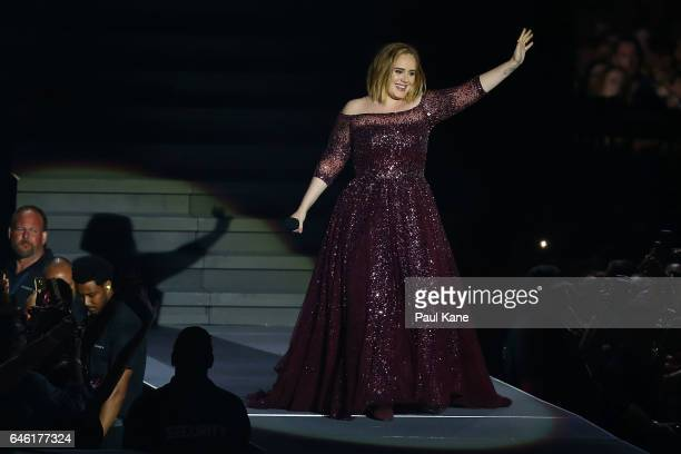 Adele performs at Domain Stadium on February 28 2017 in Perth Australia