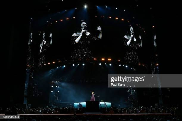 Adele performs at Domain Stadium on February 28, 2017 in Perth, Australia.