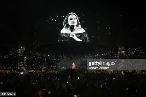 Adele performs at Etihad Stadium on March 18 2017 in Melbourne Australia