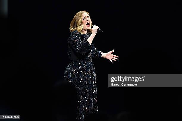 Adele performs at Genting Arena on March 29 2016 in Birmingham England