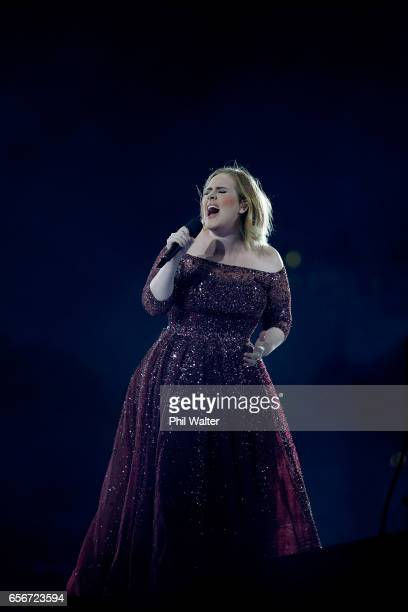 Adele performs at Mt Smart Stadium on March 23 2017 in Auckland New Zealand