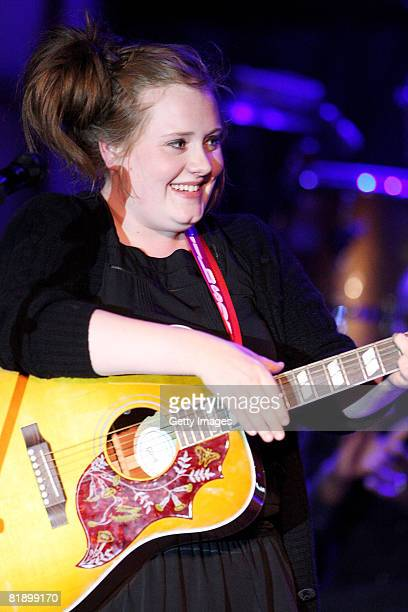 Adele performs at the Black Ball UK in aid of the Keep A Child Alive HIV/AIDS charity at St John's, Smith Square on July 10, 2008 in London, England.