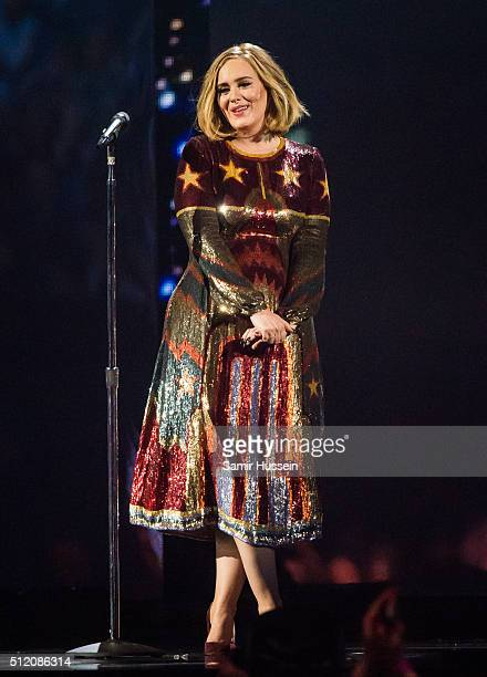 Adele performs at the Brit Awards 2016 at The O2 Arena on February 24 2016 in London England