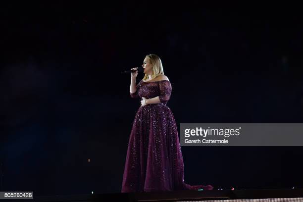 Adele performs at Wembley Stadium on June 28 2017 in London England