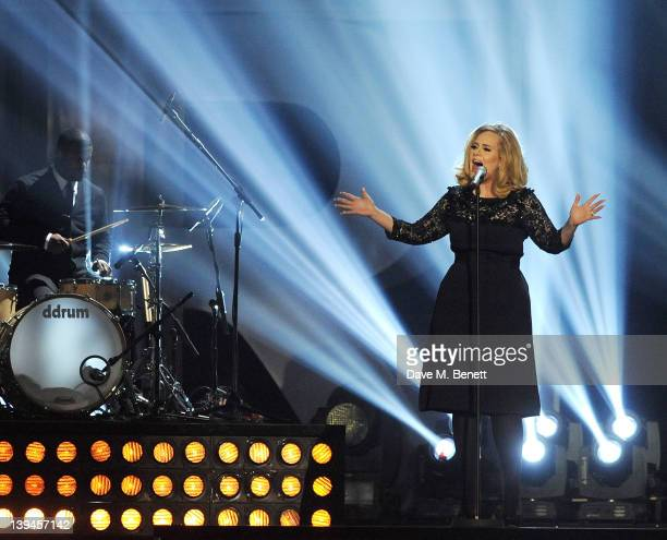 Adele performs during the BRIT Awards 2012 held at the O2 Arena on February 21 2012 in London England