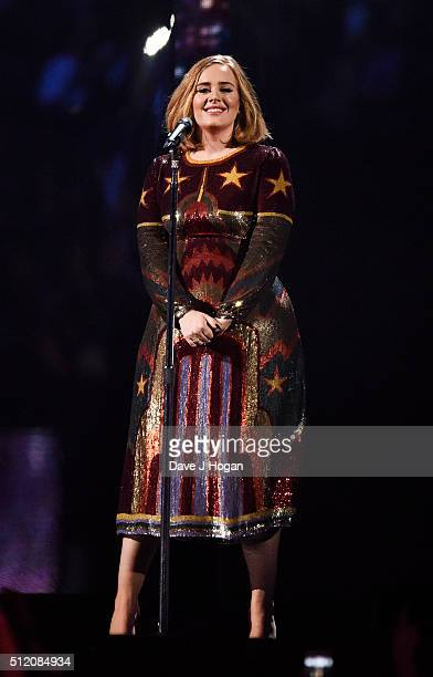 Adele performs during the BRIT Awards 2016 at The O2 Arena on February 24 2016 in London England