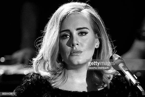 Adele performs live on stage during the television show 2015 Menschen Bilder Emotionen RTL Jahresrueckblick on December 6 2015 in Cologne Germany
