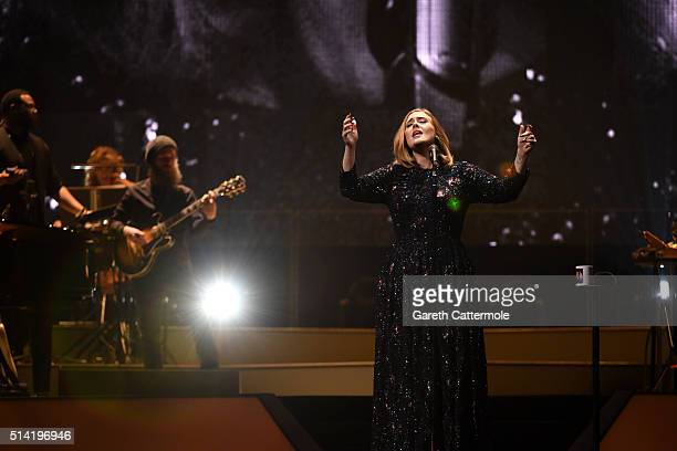 Adele performs on stage at Manchester Arena on March 7, 2016 in Manchester, England.
