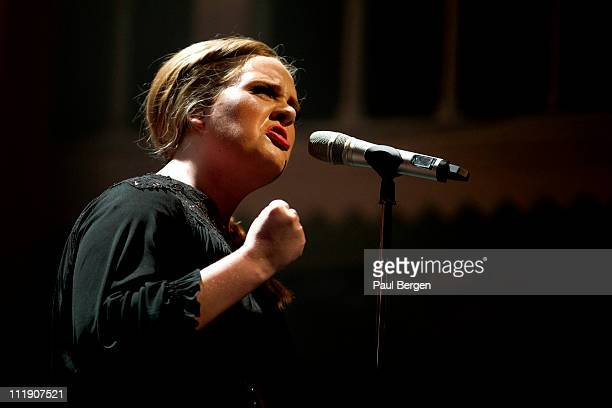 Adele performs on stage at Paradiso on April 8 2011 in Amsterdam Netherlands