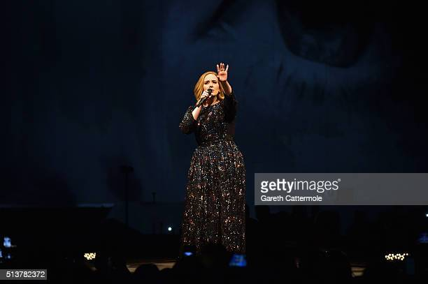 Adele performs on stage at the at 3Arena Dublin on March 4 2016 in Dublin Ireland