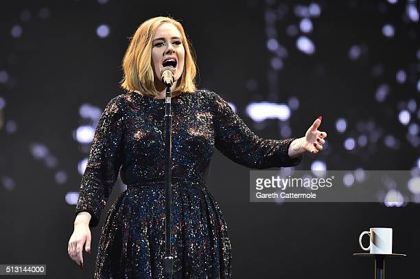 Adele performs on stage at the SSE Arena Belfast on February 29 2016 in Belfast Northern Ireland