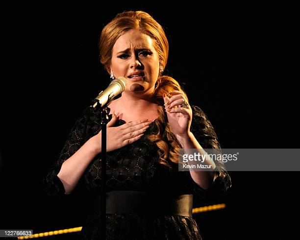 Adele performs on stage at the The 28th Annual MTV Video Music Awards at Nokia Theatre L.A. LIVE on August 28, 2011 in Los Angeles, California.