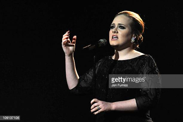 Adele performs on stage at the The BRIT Awards 2011 at O2 Arena on February 15 2011 in London England