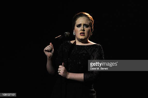 Adele performs on stage during The BRIT Awards 2011 at the O2 Arena on February 15 2011 in London England