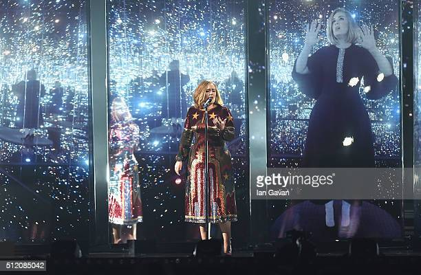 Adele performs on stage during the BRIT Awards 2016 at The O2 Arena on February 24 2016 in London England