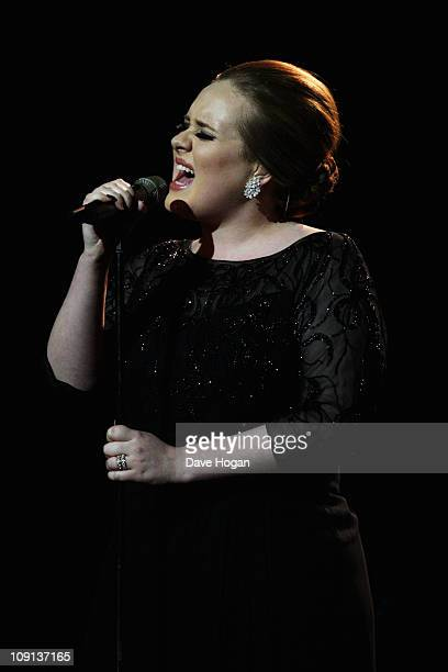 Adele performs onstage at The Brit Awards 2011 held at The O2 Arena on February 15 2011 in London England