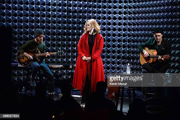 Adele performs onstage during iHeartRadio presents Adele's album premiere live at Joe's Pub on November 20 2015 in New York City