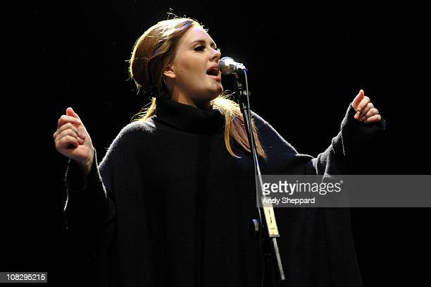 Adele performs to launch her new album at The Tabernacle on January 24 2011 in London England