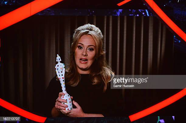 Adele receives the award for British Single for Skyfall via a recorded television message during the Brit Awards 2013 at 02 Arena on February 20 2013...