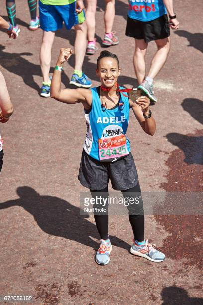 Adele Roberts poses for a photo after completing the Virgin London Marathon on April 23 2017 in London England