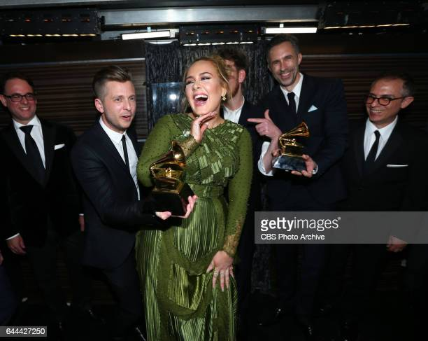 Adele, winner of Record of the Year, backstage at THE 59TH ANNUAL GRAMMY AWARDS, broadcast live from the STAPLES Center in Los Angeles, Sunday, Feb....