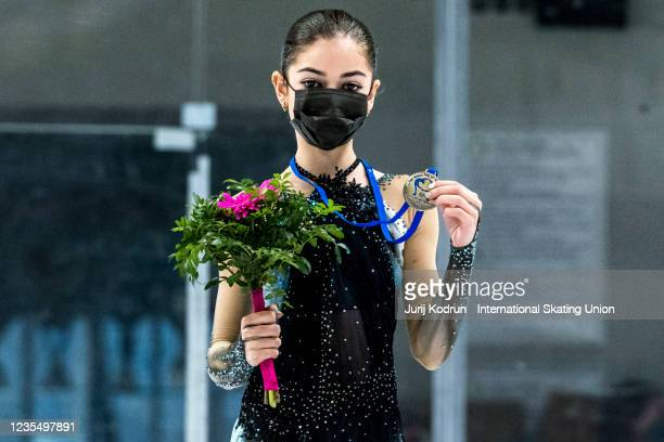 Adeliia Petrosian of Russia pose with the gold medal during medal ceremony after the ISU Junior Grand Prix of Figure Skating at Tivoli Hall on...