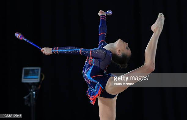 Adelina Beljajeva of Estonia competes in Individual AllAround Qualification Subdivision 2 Rotation 3during Day 4 of Buenos Aires 2018 Youth Olympic...