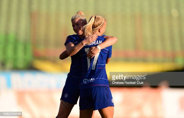 Adelina Engman of Chelsea celebrates with team mate Bethany England of Chelsea during the UEFA Women's Champions League match between Sarajevo and...