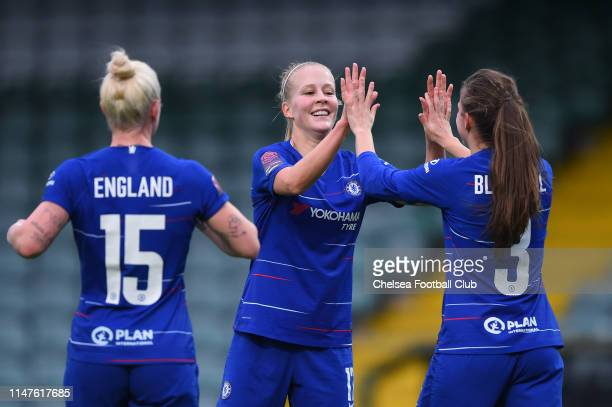 Adelina Engman of Chelsea celebrates with teammates after scoring her team's fourth goal during the WSL match between Yeovil Town Ladies and Chelsea...