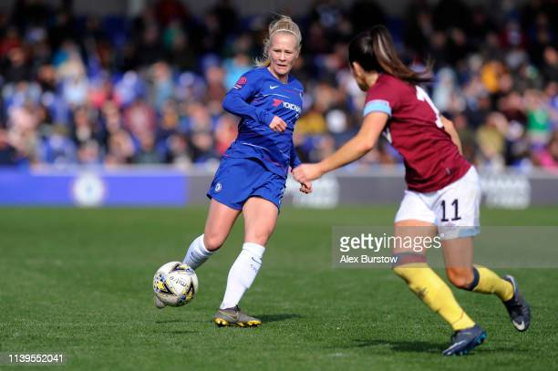 Adelina Engman of Chelsea passes the ball during the FA Women's Super League match between Chelsea Women and West Ham United Women at Kingsmeadow on...