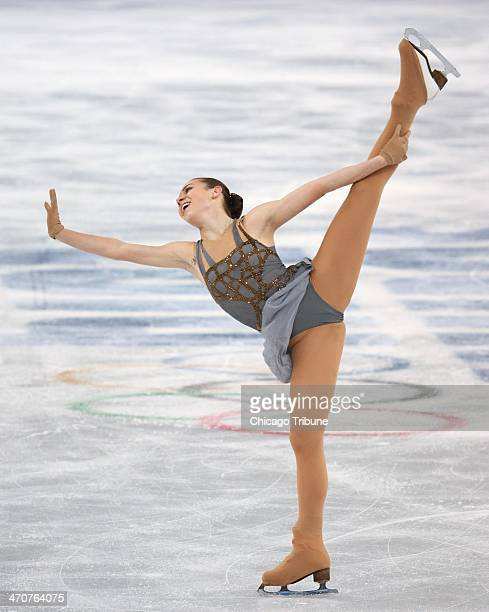 Adelina Sotnikova during her gold medal performance in the ladies' figure skating free skate at the Iceberg Skating Palace during the Winter Olympics...