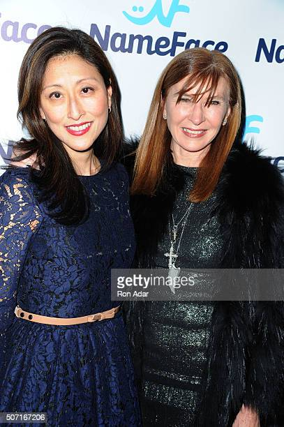 Adelina Wong Ettelson and Designer Nicole Miller attend the NameFacecom launch at No 8 on January 27 2016 in New York City