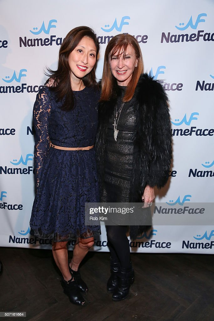 Adelina Wong Ettelson (L) and Nicole Miller attend the launch party for NameFace.com at No. 8 on January 27, 2016 in New York City.