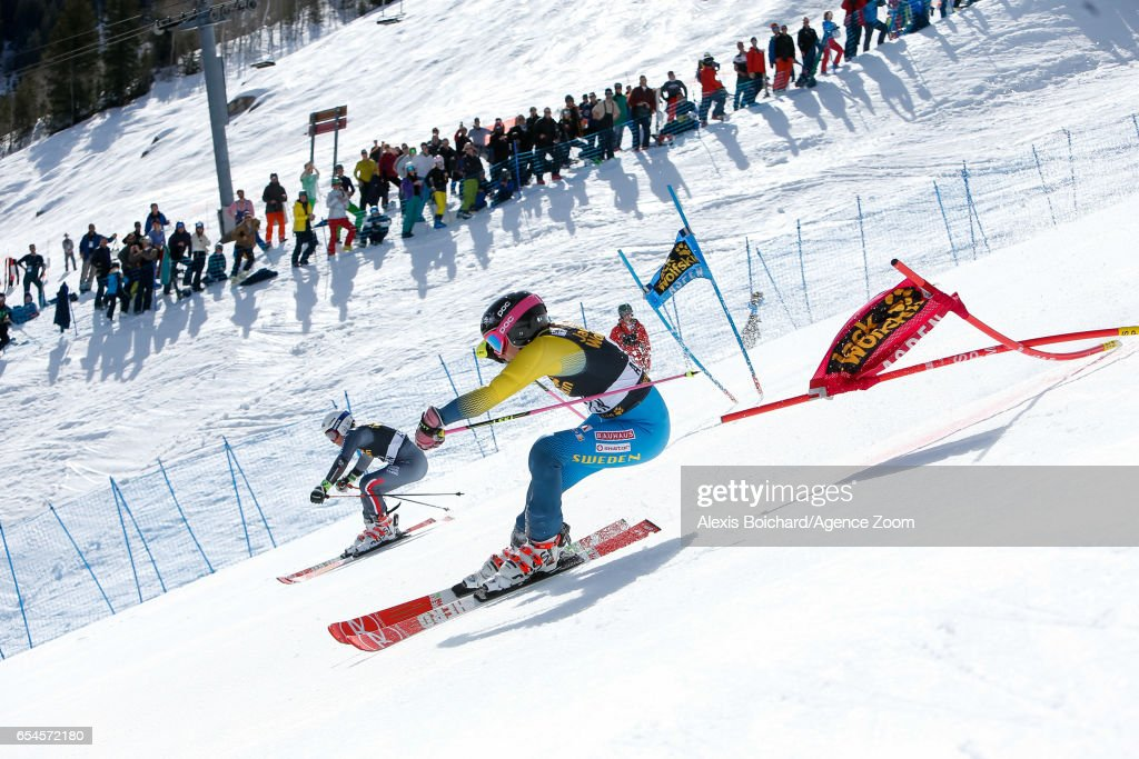 Adeline Baud Mugnier of France and Frida Hansdotter of Sweden compete during the Audi FIS Alpine Ski World Cup Finals Nation Team Event on March 17, 2017 in Aspen, Colorado