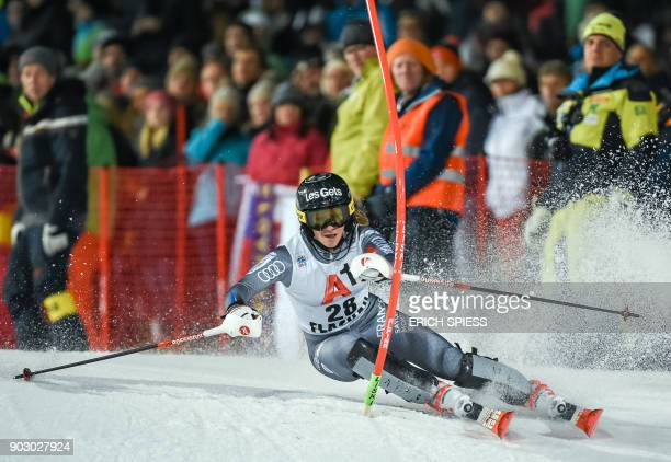Adeline Baud Mugnier of France competes during first run of the FIS World Cup Ladies night Slalom race in FlachauAustria on January 9 2018 / AFP...