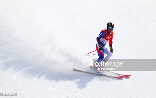 Adeline Baud Mugnier of France finishes during the Alpine Team Event Small Final on day 15 of the PyeongChang 2018 Winter Olympic Games at Yongpyong...