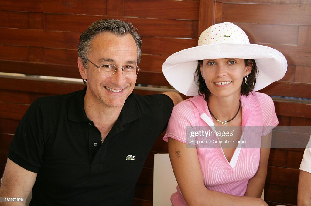 Adeline Blondieau and Laurent Petitguillaume visit Roland Garros village during the 2005 French Open tennis.