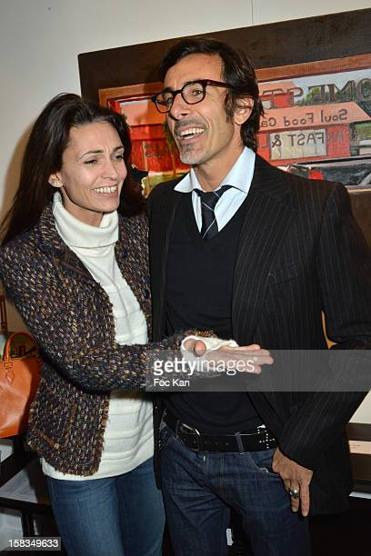 Adeline Blondieau and painter Laurent Hubert attend the 'Amerique: Instantanes' - Laurent Hubert Painting Exhibition Preview at Galerie Myriane on...